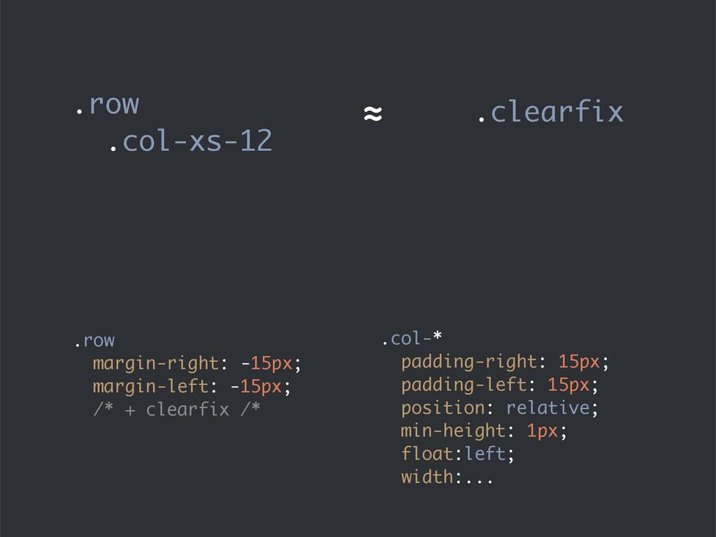.row margin-right: -15px; margin-left: -15px; /...