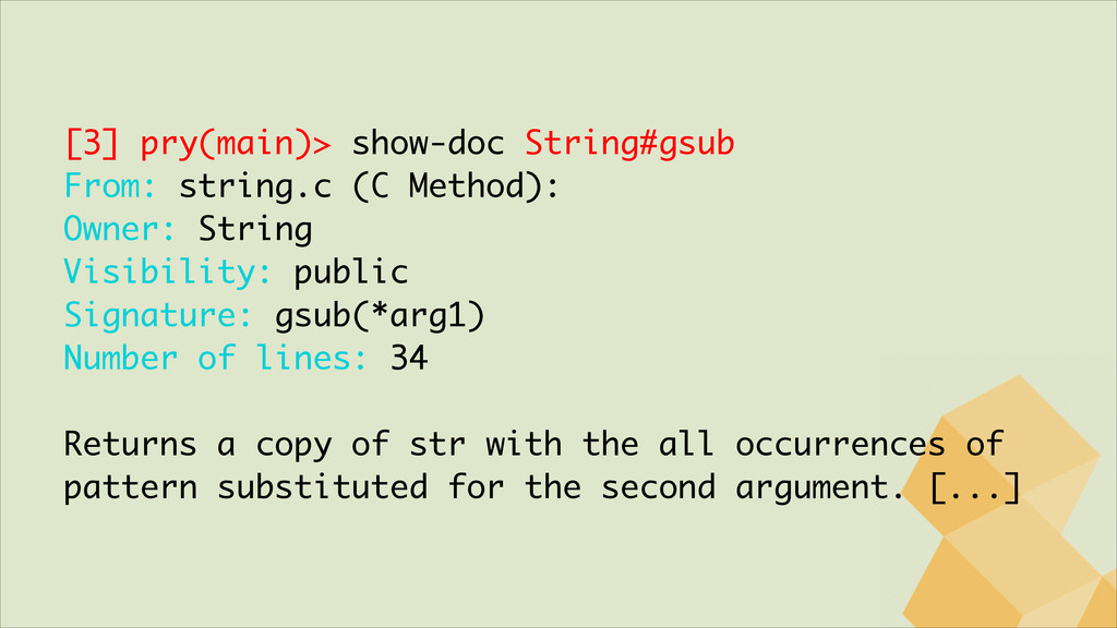 [3] pry(main)> show-doc String#gsub From: strin...