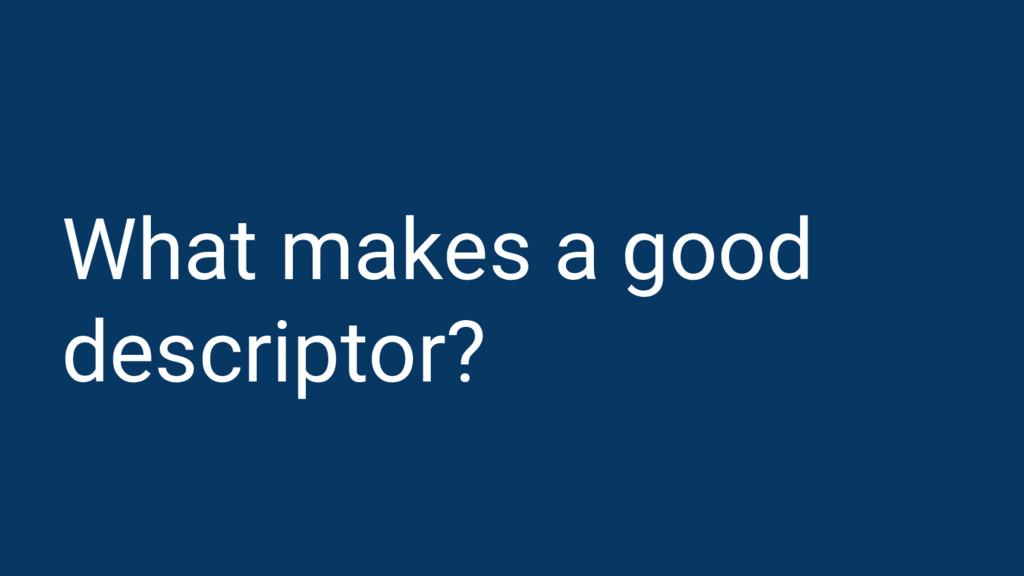 What makes a good descriptor?