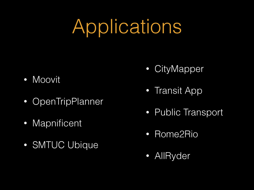 Applications • Moovit • OpenTripPlanner • Mapni...