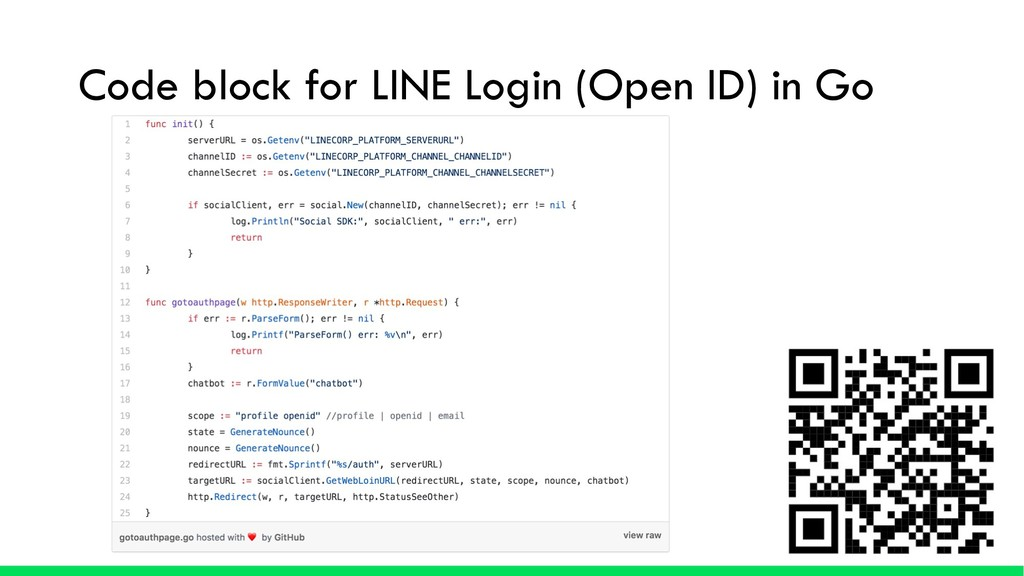 Code block for LINE Login (Open ID) in Go