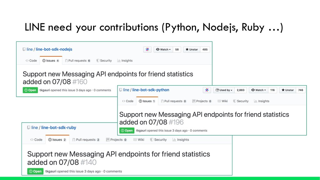 LINE need your contributions (Python, Nodejs, R...