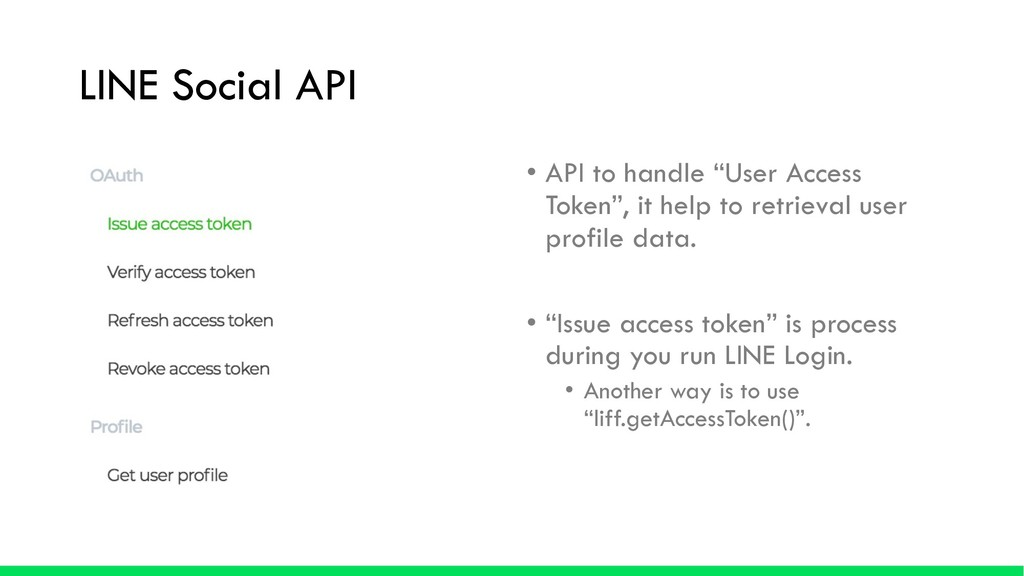 "LINE Social API • API to handle ""User Access To..."