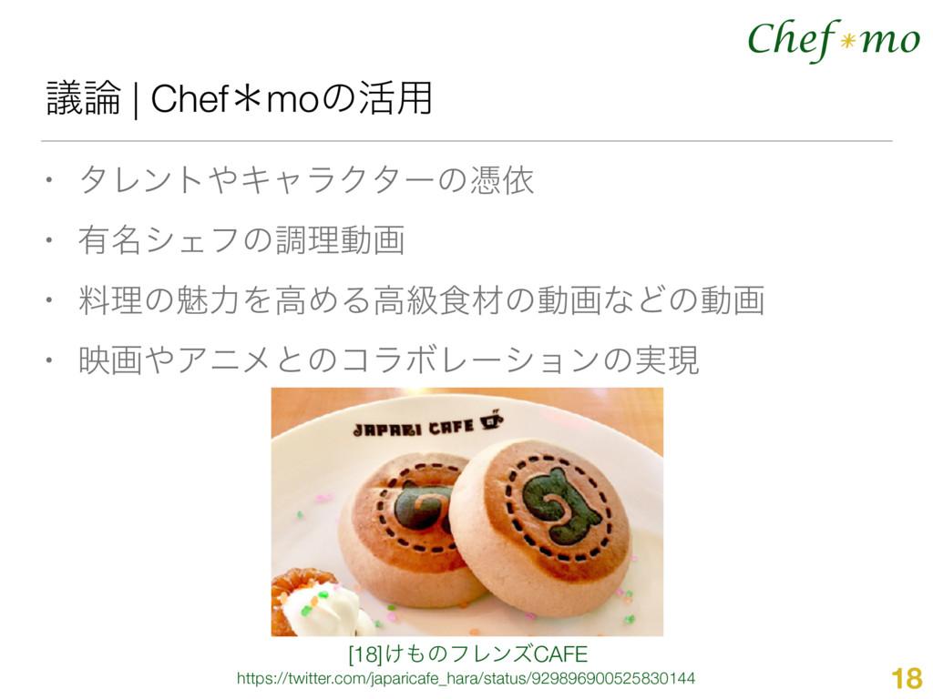 Chef mo * ٞ | Chefˎmoͷ׆༻ • λϨϯτΩϟϥΫλʔͷጪґ • ༗໊...