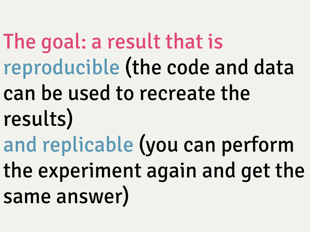 The goal: a result that is reproducible (the c...