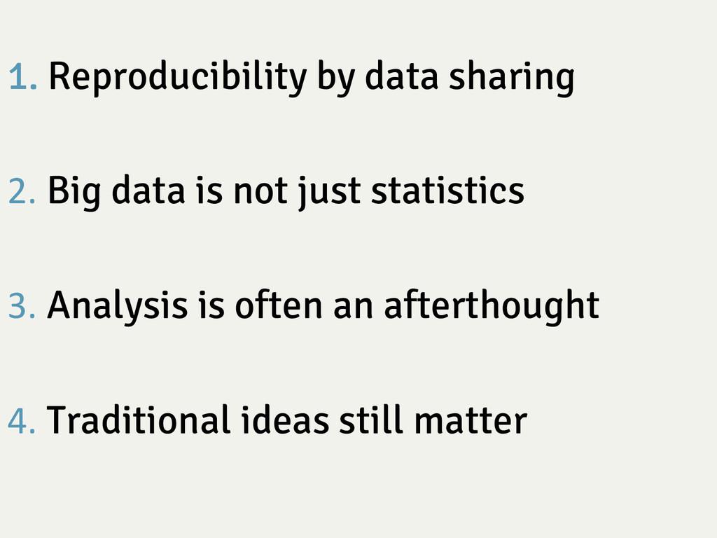 1. Reproducibility by data sharing 2. Big data...