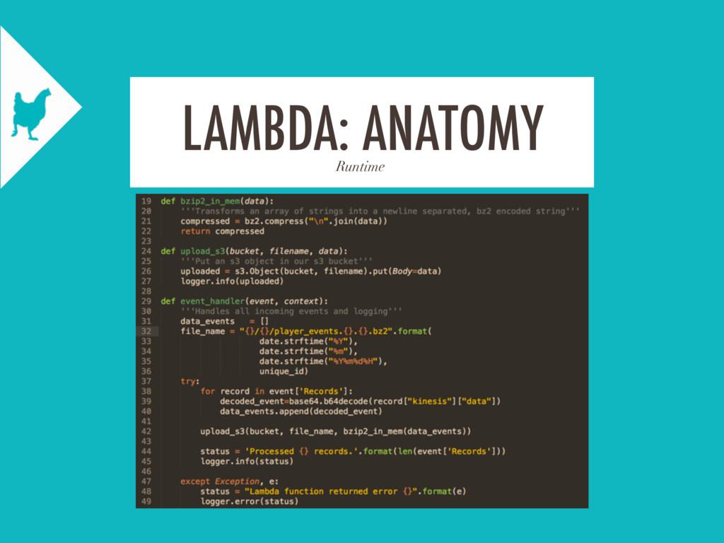 Runtime LAMBDA: ANATOMY