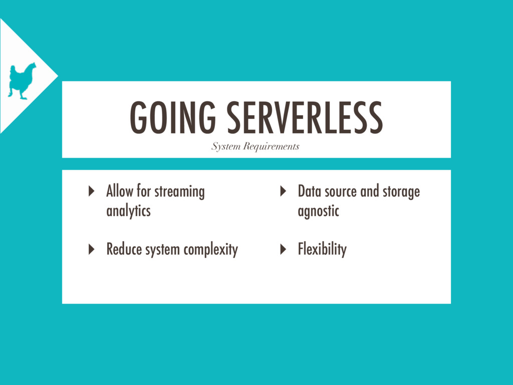 System Requirements GOING SERVERLESS ‣ Allow fo...
