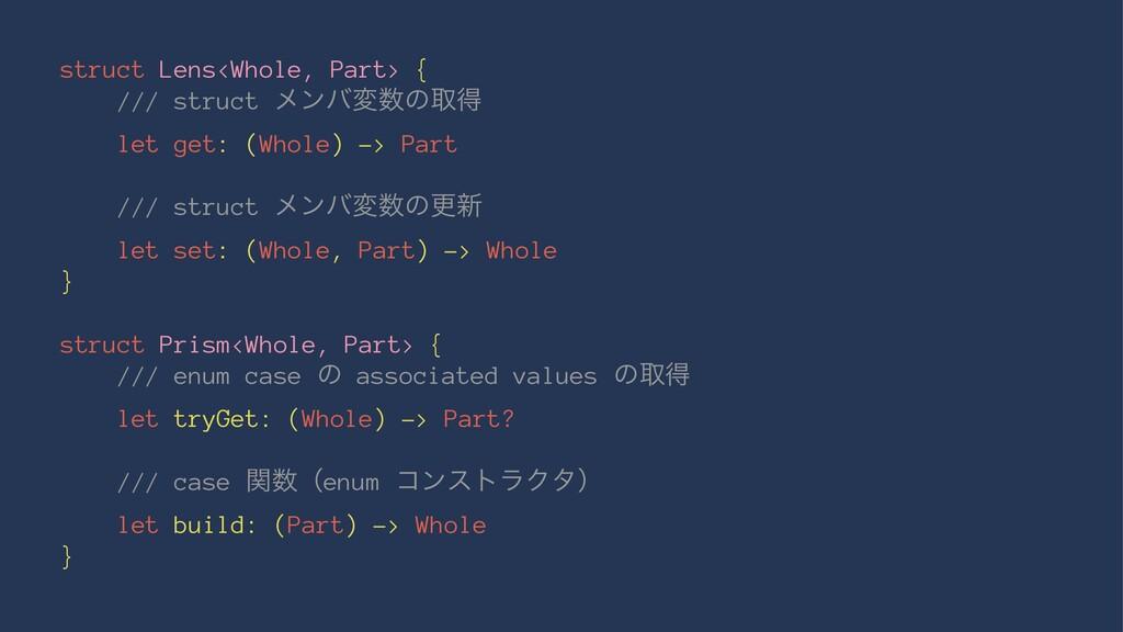 struct Lens<Whole, Part> { /// struct ϝϯόมͷऔಘ ...