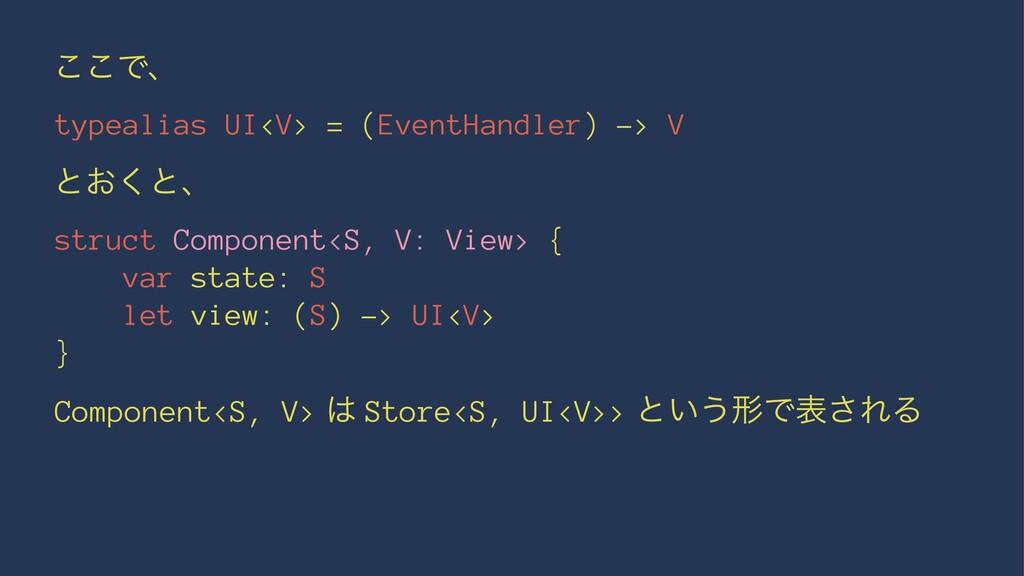 ͜͜Ͱɺ typealias UI<V> = (EventHandler) -> V ͱ͓͘ͱ...