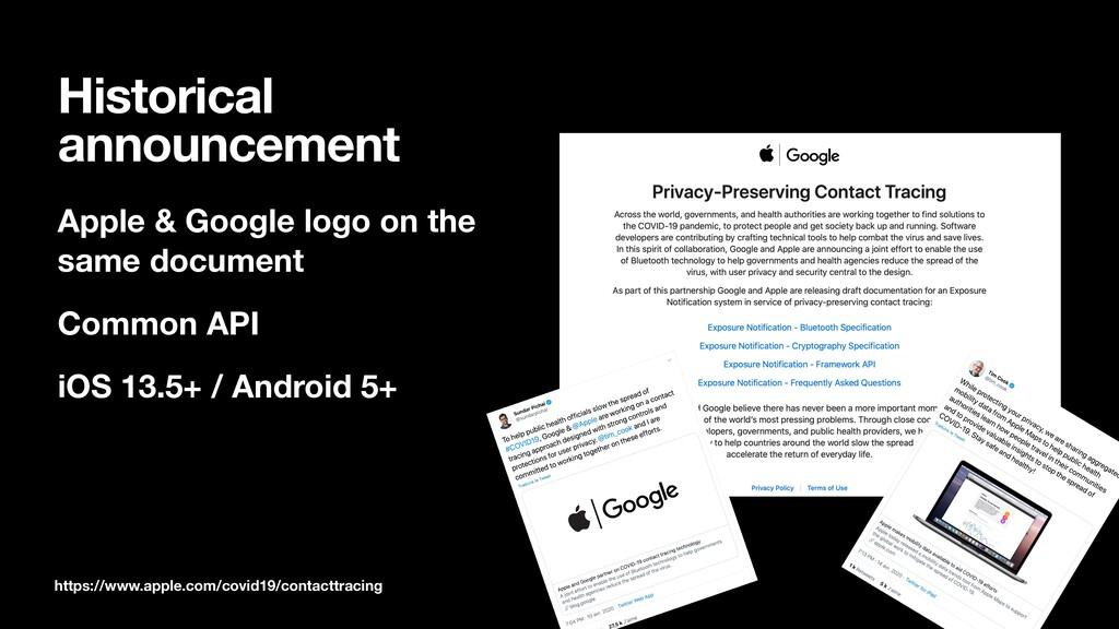 Historical announcement Apple & Google logo on ...