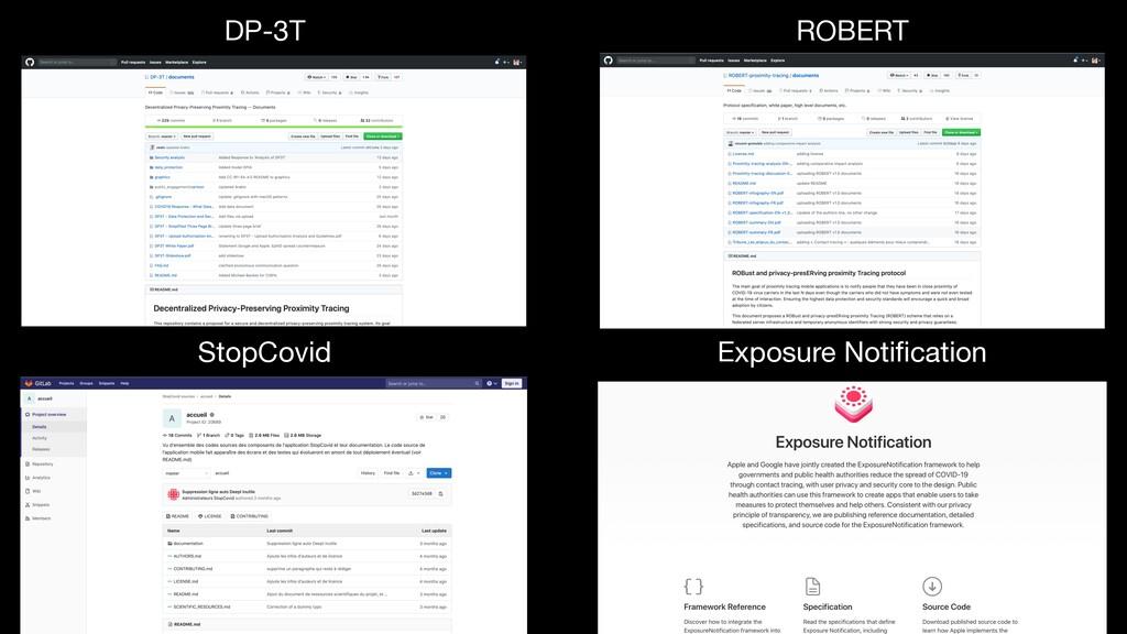 DP-3T ROBERT StopCovid Exposure Notification