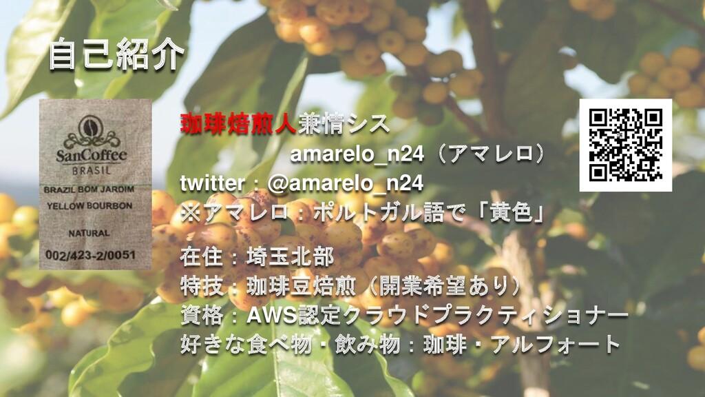 自己紹介 珈琲焙煎人兼情シス amarelo_n24(アマレロ) twitter:@amare...