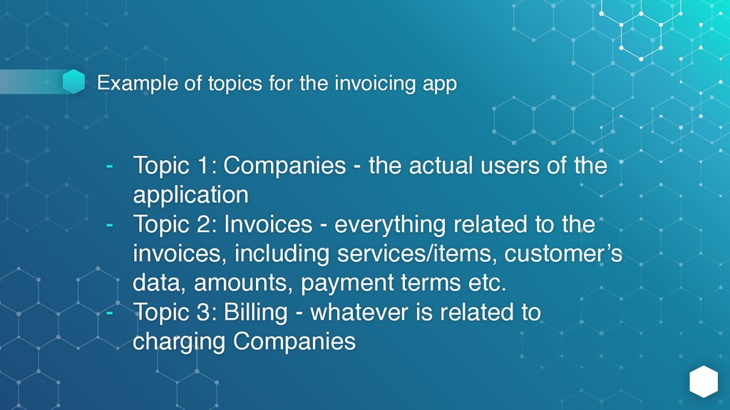 Example of topics for the invoicing app - Topic...