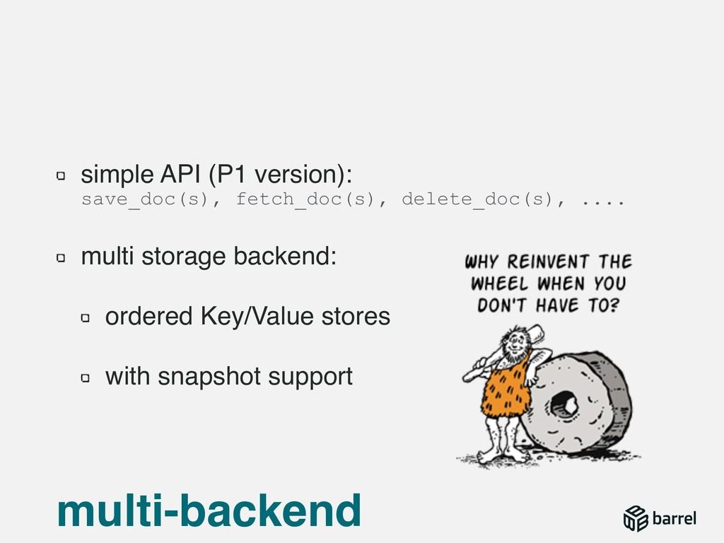 simple API (P1 version):  save_doc(s), fetch_d...