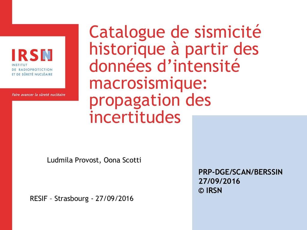 Catalogue de sismicité historique à partir des ...