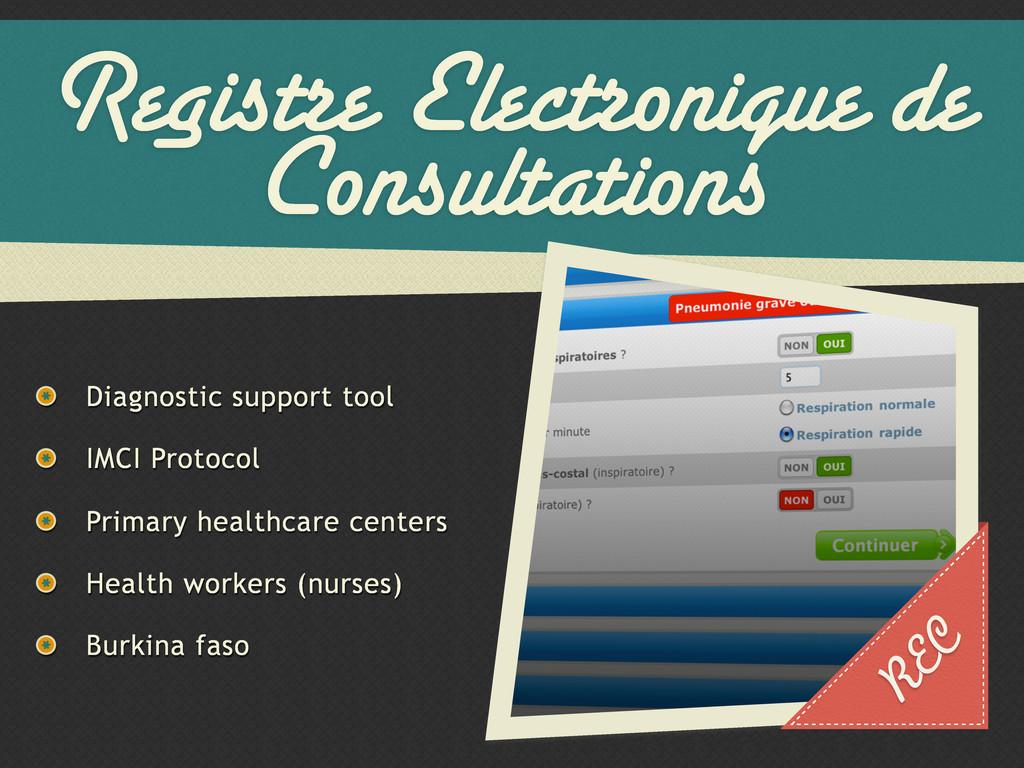 Registre Electronique de Consultations Diagnost...