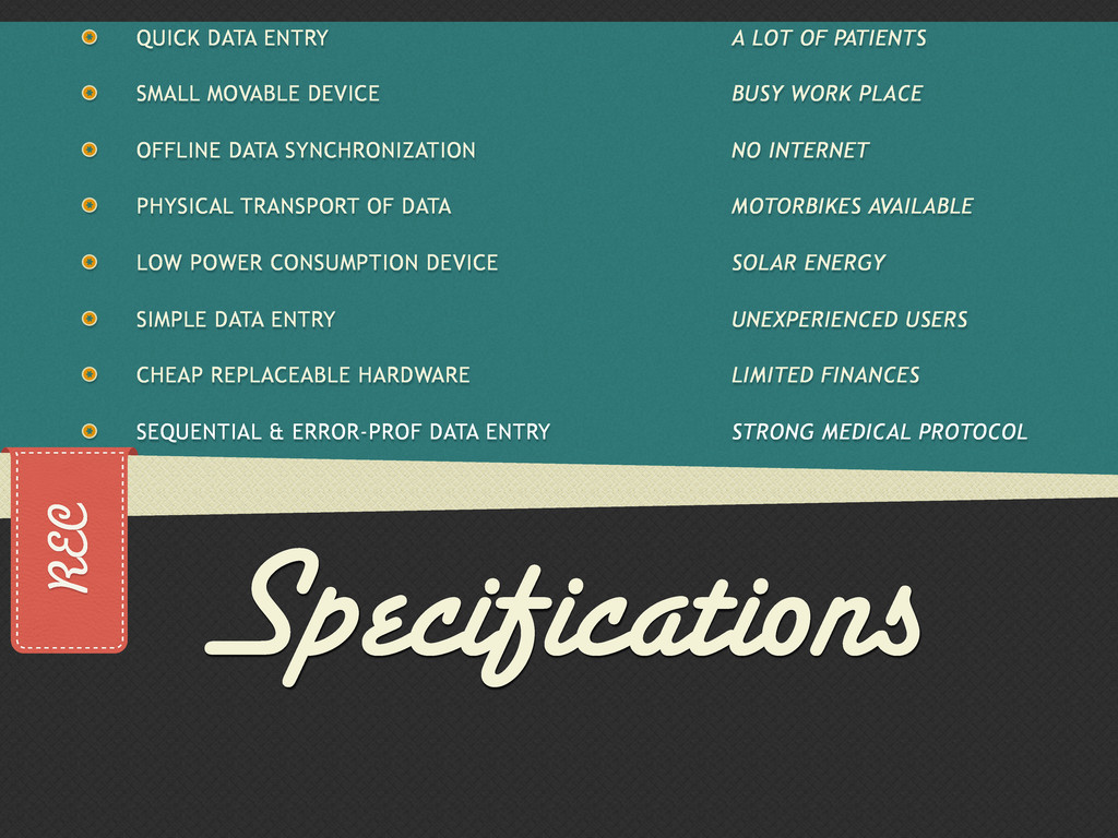 REC Specifications QUICK DATA ENTRY SMALL MOVAB...