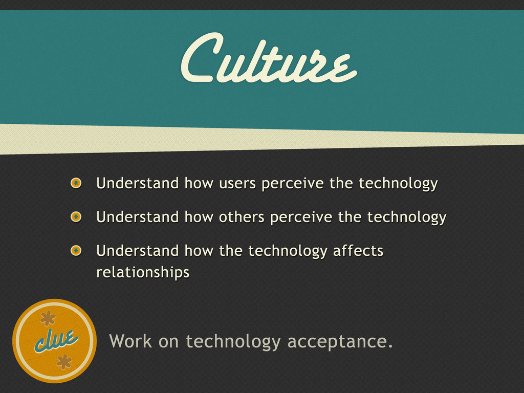 Culture Understand how users perceive the techn...