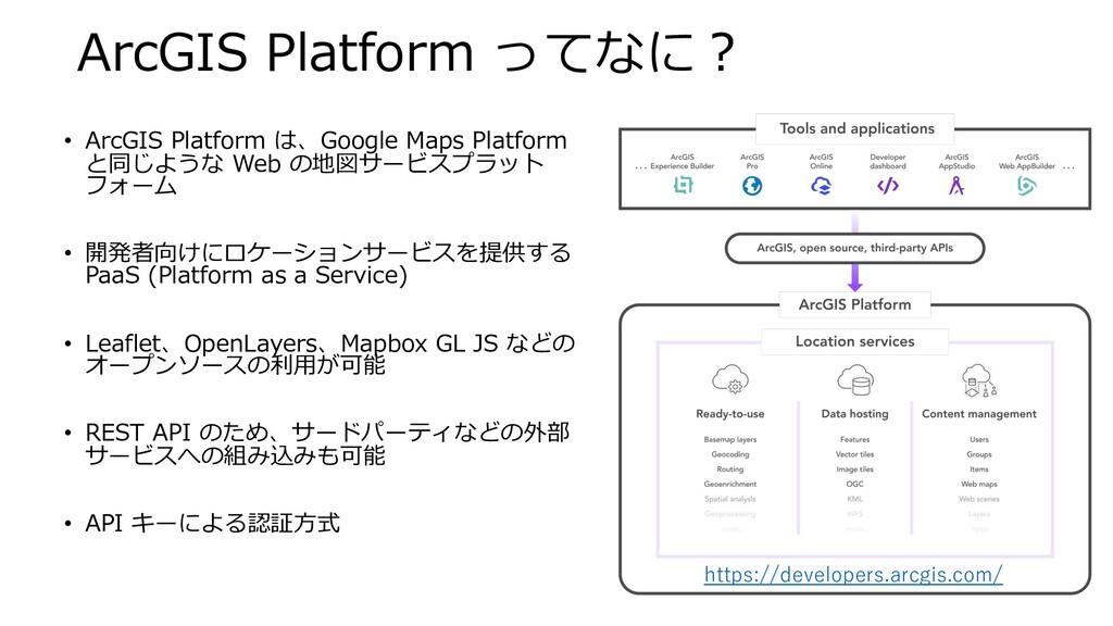 ArcGIS Platform ってなに︖ • ArcGIS Platform は、Googl...