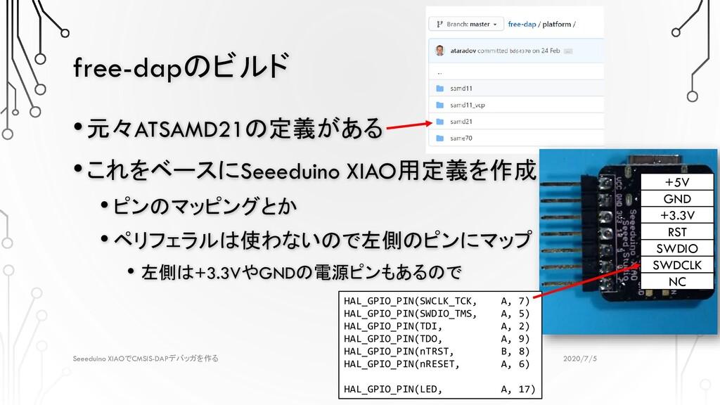 free-dapのビルド 2020/7/5 Seeeduino XIAOでCMSIS-DAPデ...