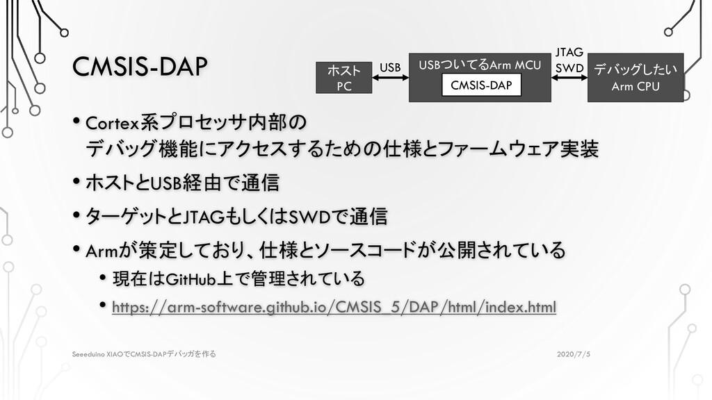 CMSIS-DAP 2020/7/5 Seeeduino XIAOでCMSIS-DAPデバッガ...
