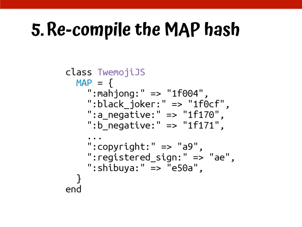 5.Re-compile the MAP hash class TwemojiJS MAP =...