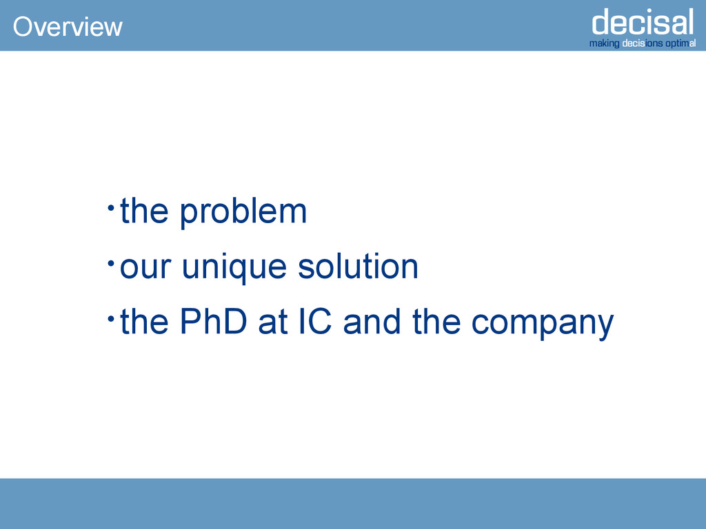 decisal making decisions optimal Overview  the...