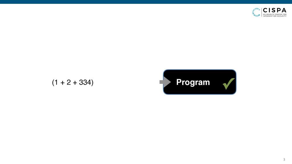 3 (1 + 2 + 334) ✓ Program