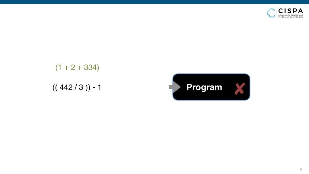 4 (1 + 2 + 334) Program (( 442 / 3 )) - 1 ✘