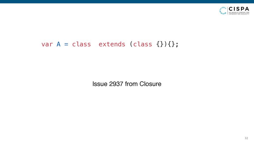 32 var A = class extends (class {}){}; Issue 29...