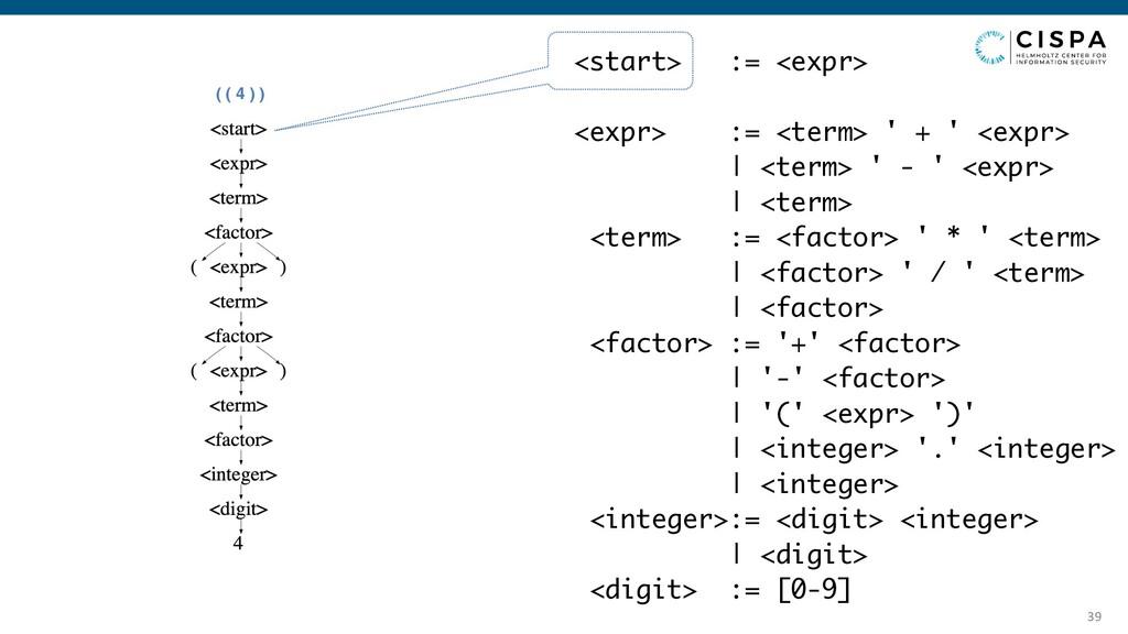 39 ( ( 4 ) ) <start> := <expr> <expr> := <term>...