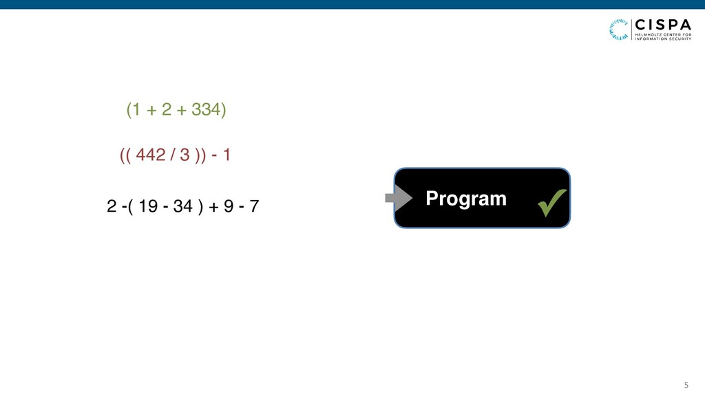 5 (1 + 2 + 334) Program (( 442 / 3 )) - 1 ✓ 2 -...