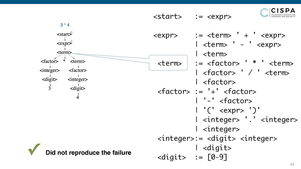 43 3 * 4 <start> := <expr> <expr> := <term> ' +...
