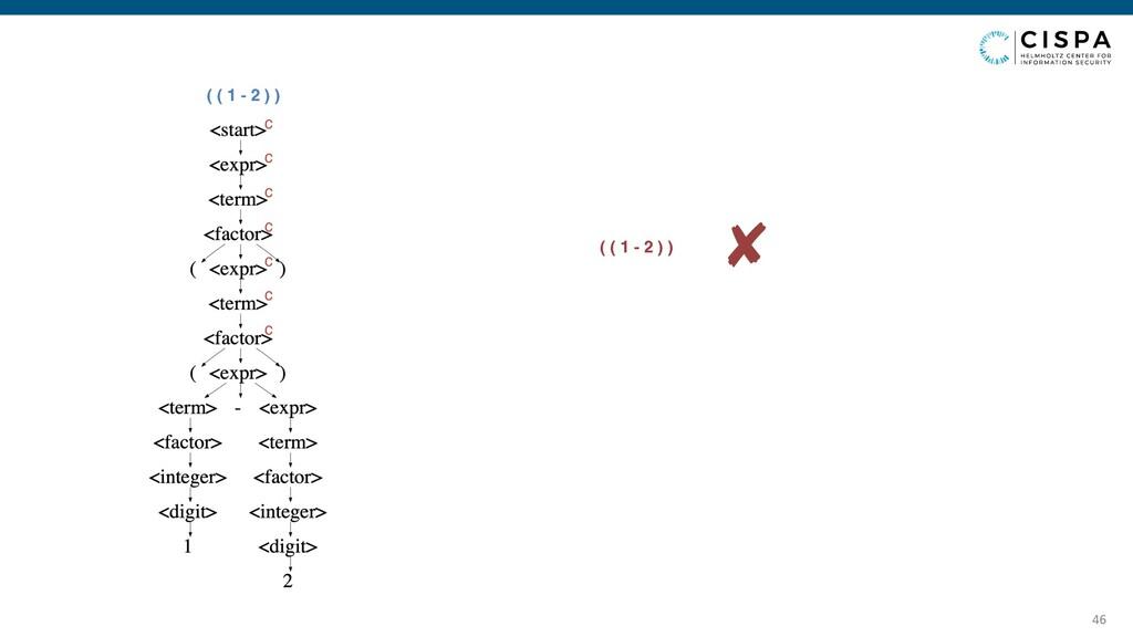 46 ( ( 1 - 2 ) ) c c c c c c c ✘ ( ( 1 - 2 ) )