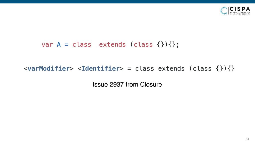 54 var A = class extends (class {}){}; Issue 29...