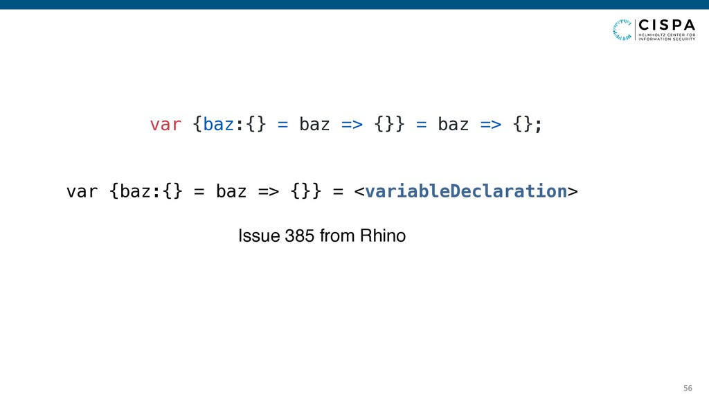 56 var {baz:{} = baz => {}} = baz => {}; Issue ...