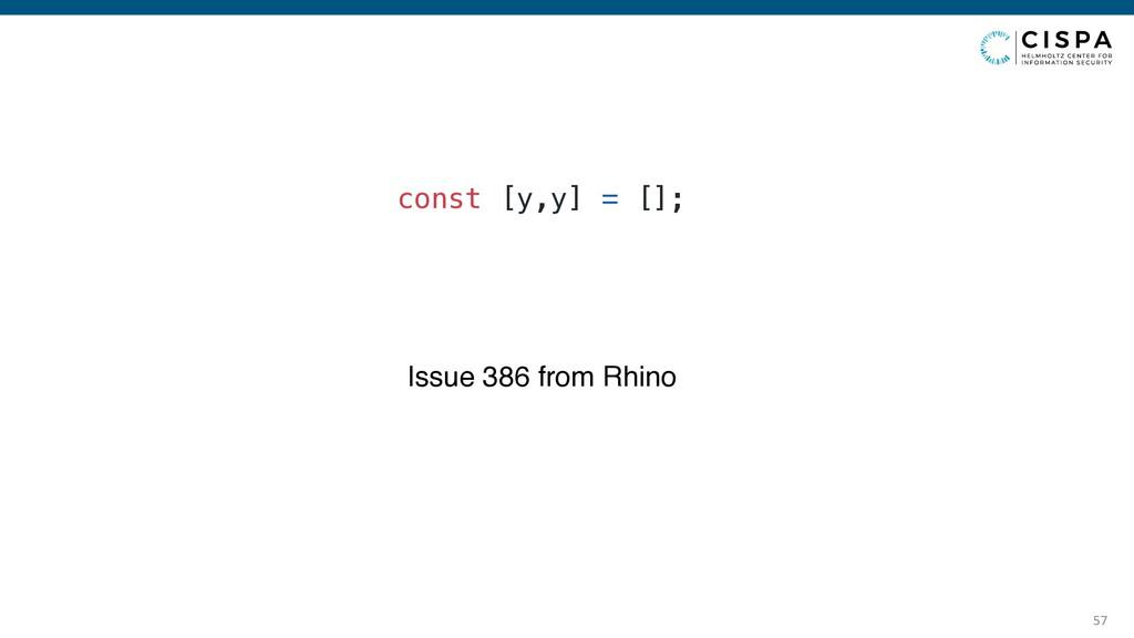 const [y,y] = []; 57 const [y,y] = []; Issue 38...