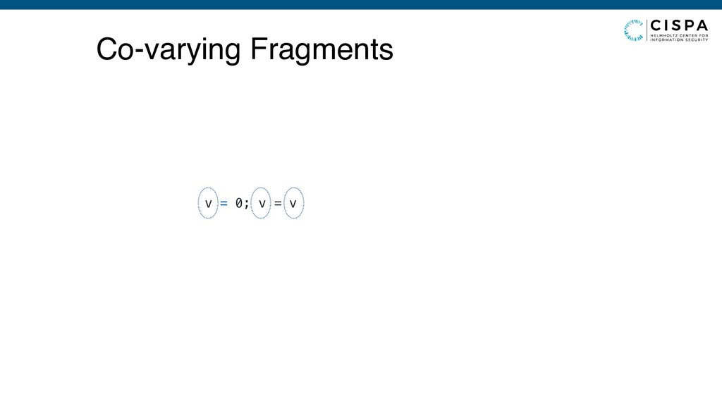 v = 0; v = v Co-varying Fragments