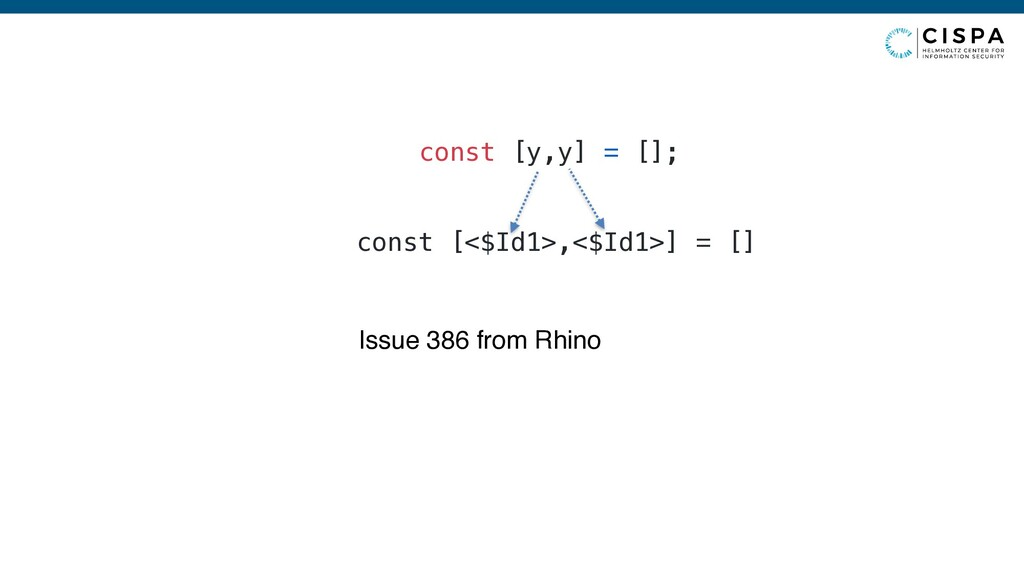 const [y,y] = []; Issue 386 from Rhino const [<...