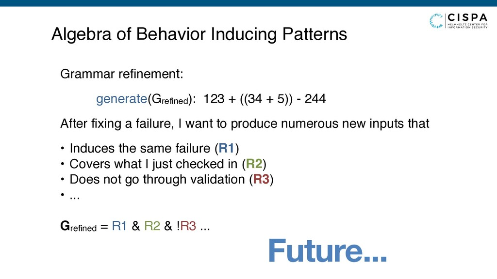Future... Algebra of Behavior Inducing Patterns...