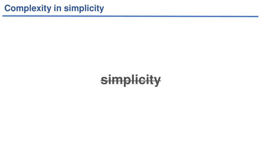 Complexity in simplicity simplicity