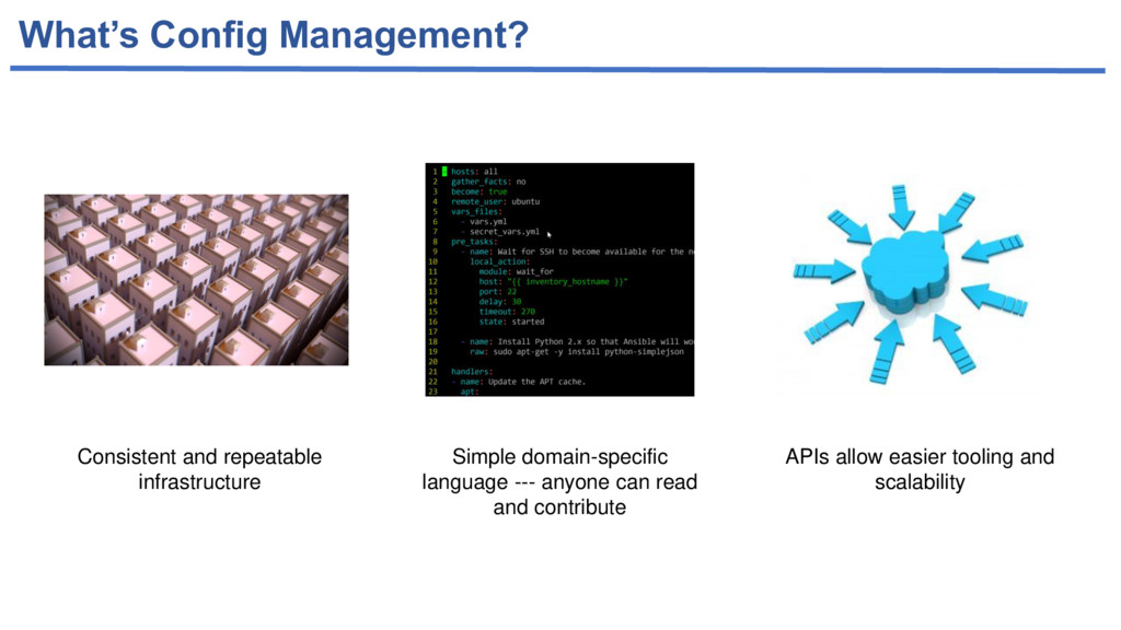 What's Config Management? Consistent and repeat...