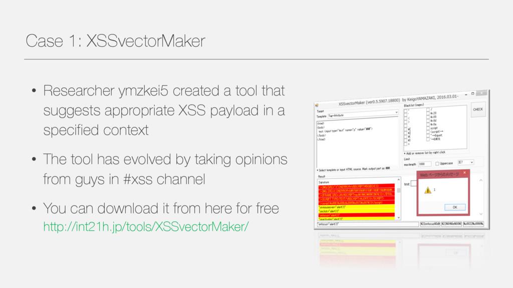 Case 1: XSSvectorMaker • Researcher ymzkei5 cre...