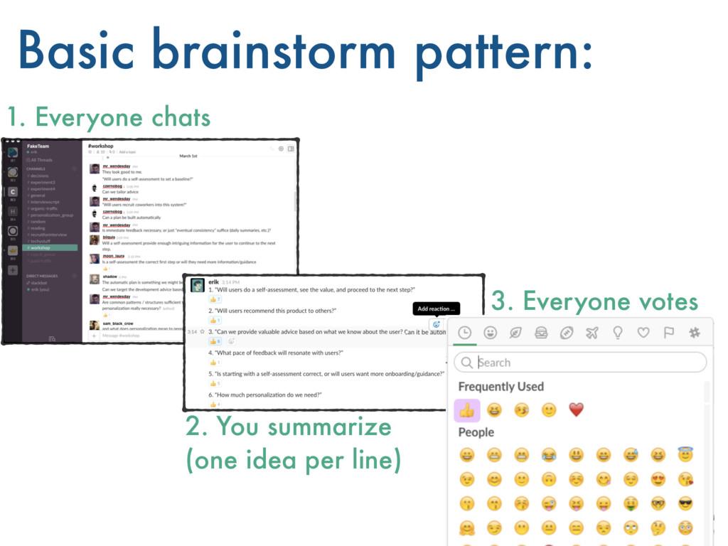 Basic brainstorm pattern: 1. Everyone chats 2. ...