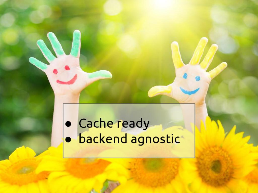 ● Cache ready ● backend agnostic