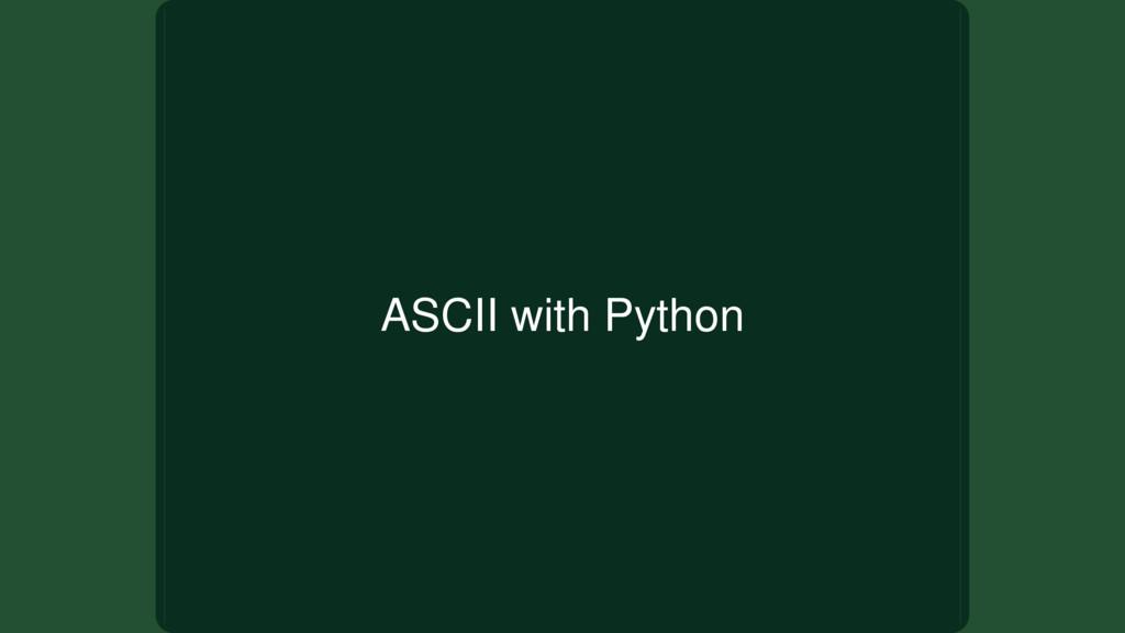 ASCII with Python