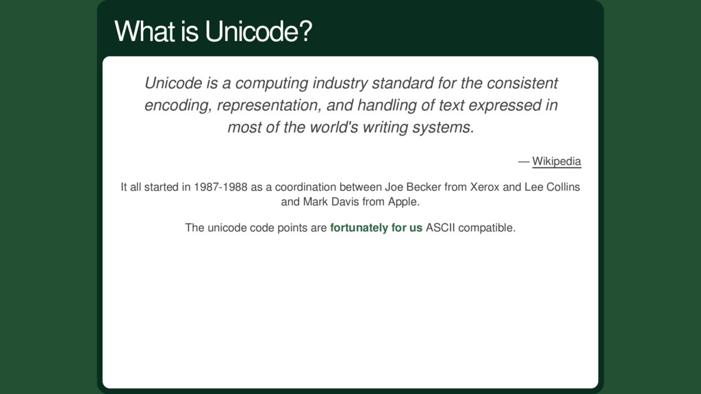 Unicode is a computing industry standard for th...