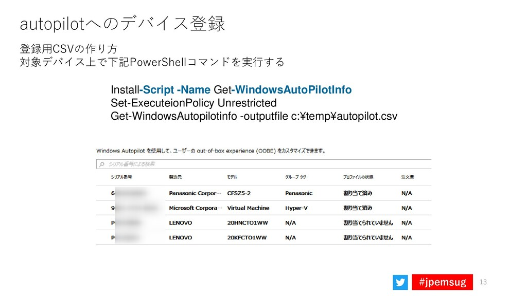 #jpemsug autopilotへのデバイス登録 13 登録用CSVの作り方 対象デバイス...