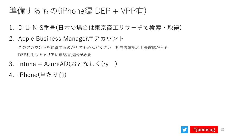 #jpemsug 準備するもの(iPhone編 DEP + VPP有) 1. D-U-N-S番...